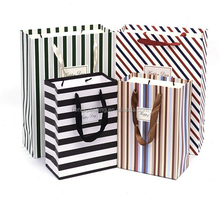 Factory price high quality elegant stripe carrier paper T-shirt bag wholesale