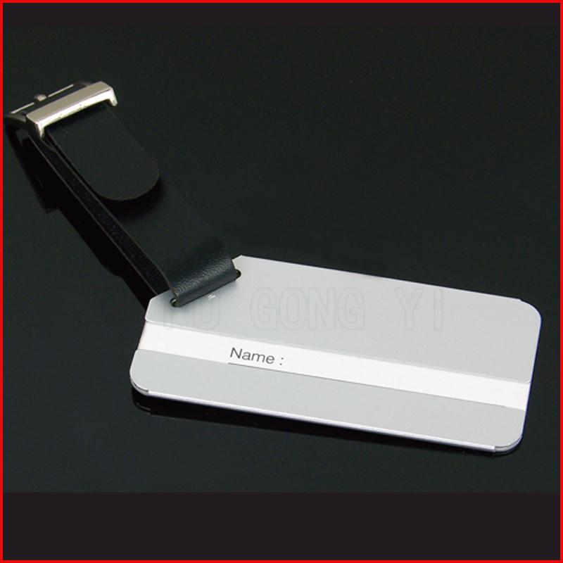 personalized metal custom luggage tag with leather strap
