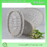 White wicker laundry basket/Large storage basket/Oval willow basket