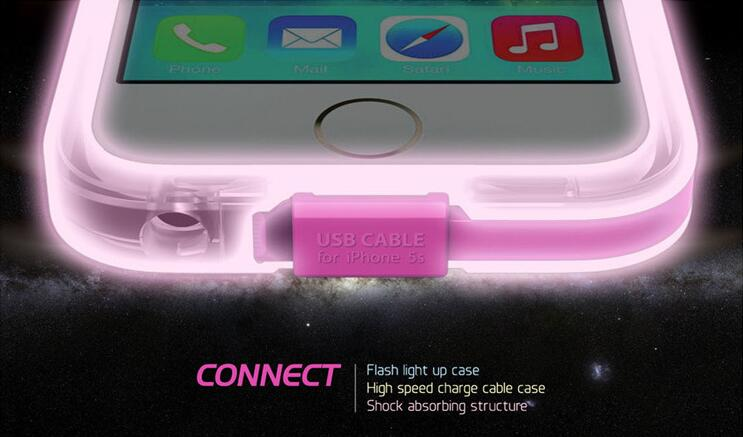 2015 new call lighting up usb cable glow in the dark silicone cell mobile phone case