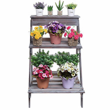 Wood Folding Ladder Plant Flower Pot 2 Tier Wood Display Stand