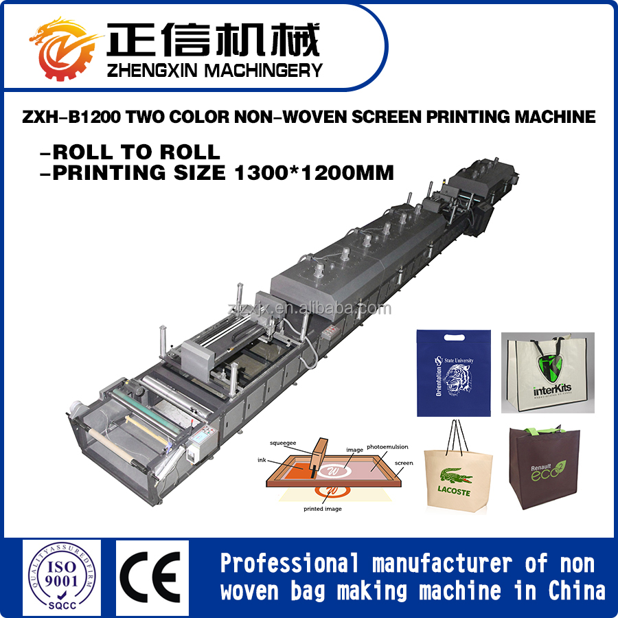 cheap non woven fabric bag two tone screen printing machine