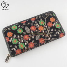 2018 Classic Imperial Embroidered PU Leather Zip Floral Wallet