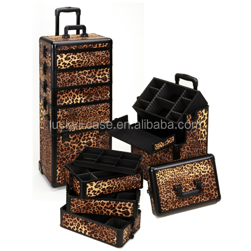 Pro Rolling Makeup Case Leopard Printing Makeup Rolling Case with Removable Drawer