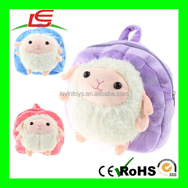 D84 2015 factory wholesale high quality kids backpack plush sheep school bag