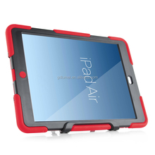 Rugged PC plastic 3 in 1 hybrid shockproof silicone TPU bumper drop resistance case cover with kickstand for ipad air 2
