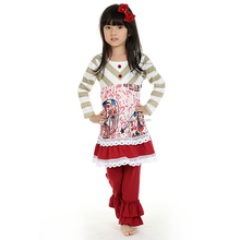 Children wholesale boutique clothing organic Baby Clothes Red ruffle Children Clothes