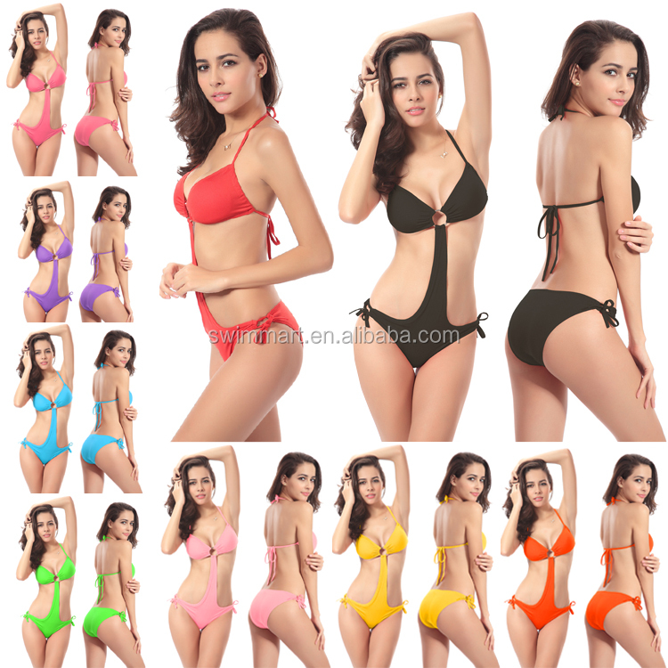 Ringed center Removable padding 2016 Sexy Women Competition swimwear