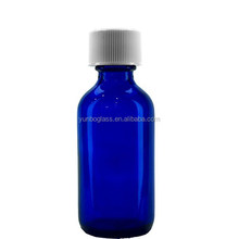 2 ounce Cobalt Blue BPA free Aromatherapy Bottle Container with White Child-Resistant Cap