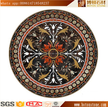 Black rectangle marble floor medallions pattern