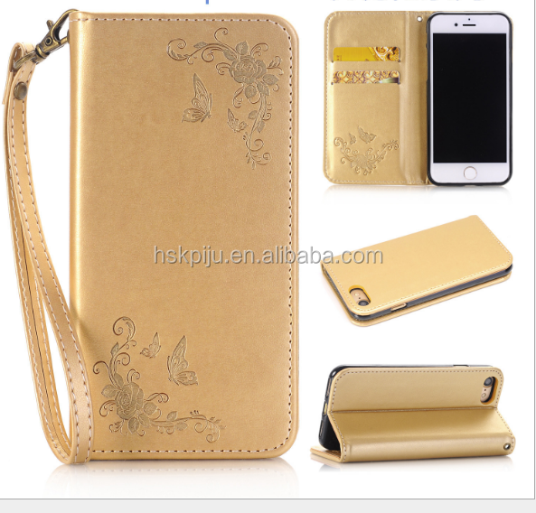 new fashion pu leather card holder wallet phone case with wristlet