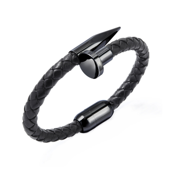 Fashion Charm Stainless Steel Rivet Magnetic buckle Leather Braided Bracelet For Men