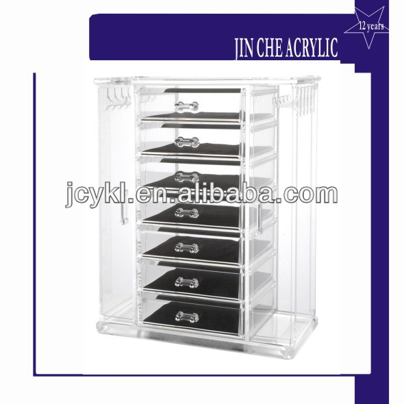 7 drawer acrylic jewelry chest with necklace keeper