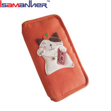 Japanese cat promotional zipper funky cute women purse, colorful cell phone wallet