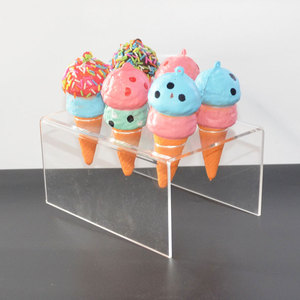 Factory Wholesale Custom Acrylic Ice Cream Cone Holder with Slant Sneeze Guard Holes