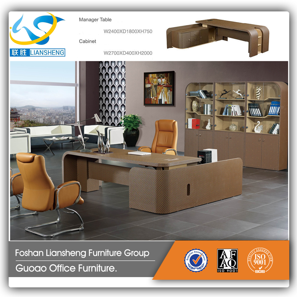 Hot Sale Models Factory Price Executive Office Table ,Wood With Leather Cover Computer Table