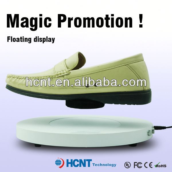 new invention ! magnetic levitating led display stand for shoe woman,boys formal shoes