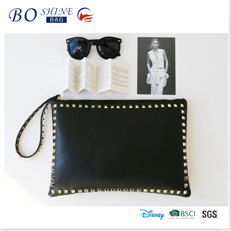 Hot sales new fashion pu leather full rivet clutch bag for women wholesale