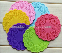 new design flower shape engraved design silicone cup mat