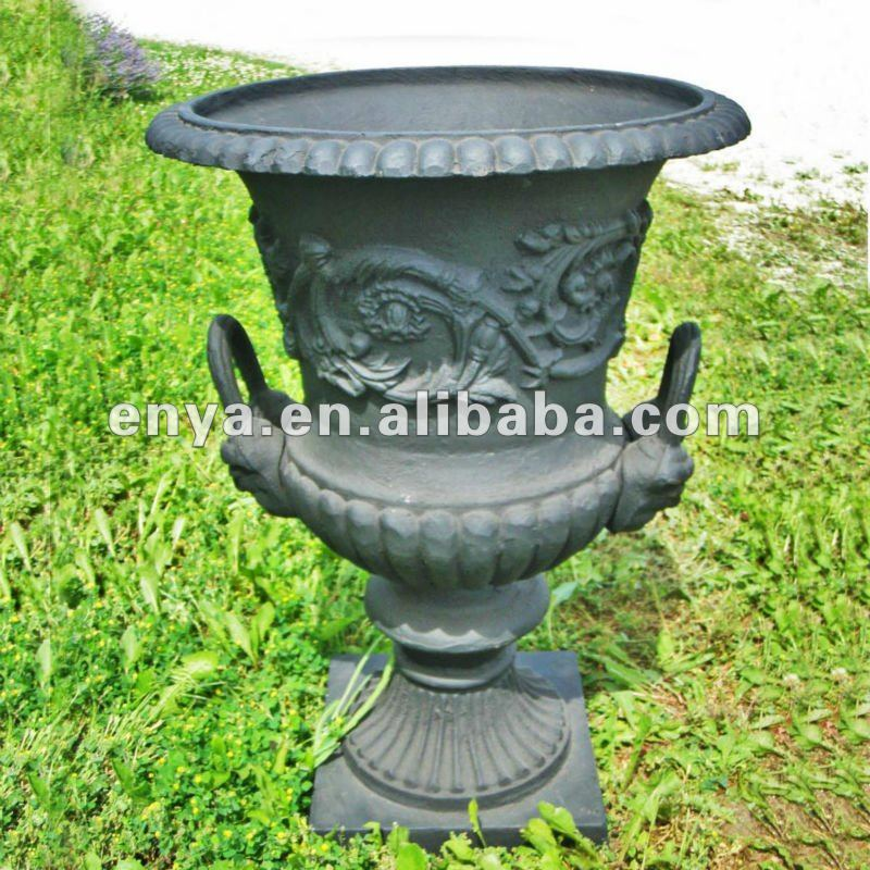 Marvelous Antique Cast Iron Urns, Large Garden Planter In American Design