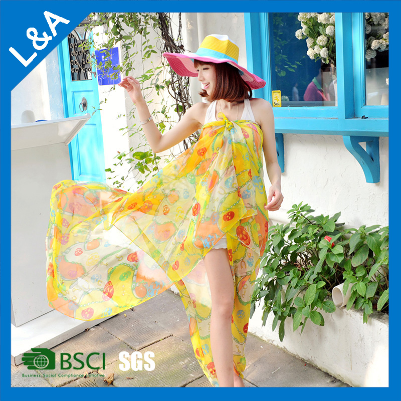 ladies' beach pareo fashion sarong with colorfull printing big size(WB015L)