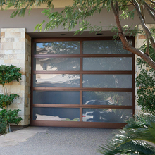 Modern automatic aluminum frosted glass garage door