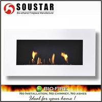 Hot New Design plaza W, wall mount ethanol gas log fireplace