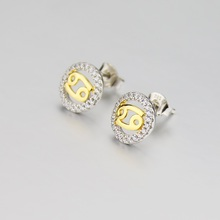 China supplier new 6 number on it sliver color 1.90g weight quality assurance cancer stud earrings