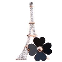 B586 Eiffel Tower Clover Broches For Women 18K Gold Plated Korea Brooch Boutique Jewelry Wholesale Bulk Brooch