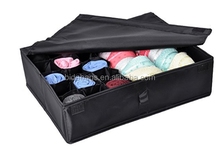 2 in 1 Foldable Drawer Divider,Underwear Socks Ties Bra Drawer Organizer Storage Box (Black)