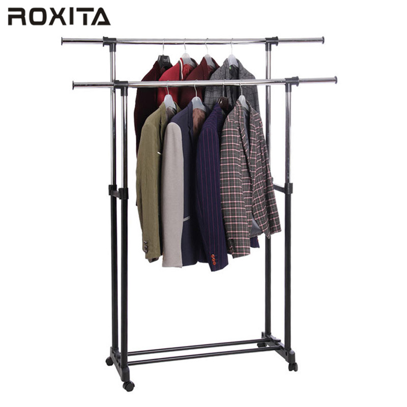RX-CR402 fashion design bedrooms two poles standing hanging clothes rack for hotel