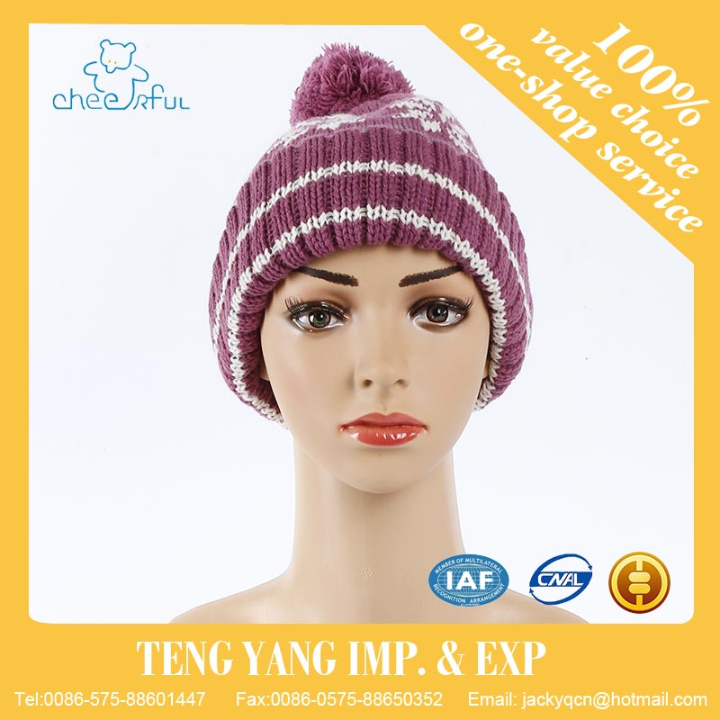 100% Acrylic Cheap price Best selling fine winter knitted beanie hat for women