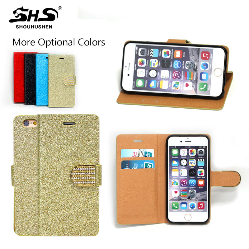 Low price china bling fashion mobile phone pouch case for Iphone 5 5S leather wallet