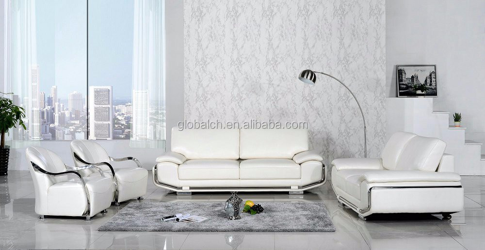 Pure White Leather Sofa for Living Room