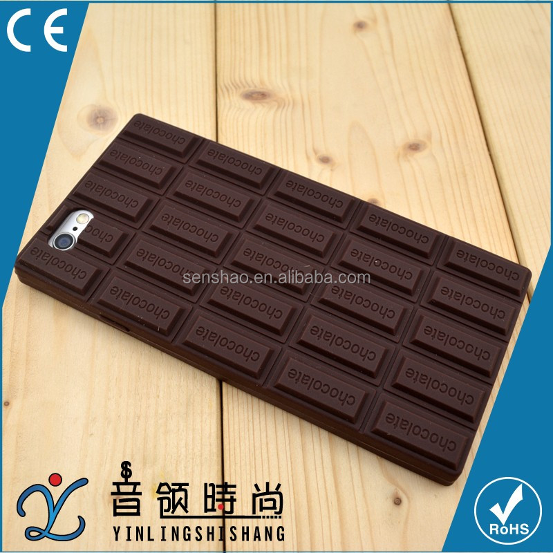 Wholesale black Chocolate 3D silicone case for iphone 4 4s 5 6 6Plus, universal Silicone Chocolate Rubber Mobile Phone shell