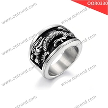 Stainless steel antique dragon konov jewelry ring for biker man