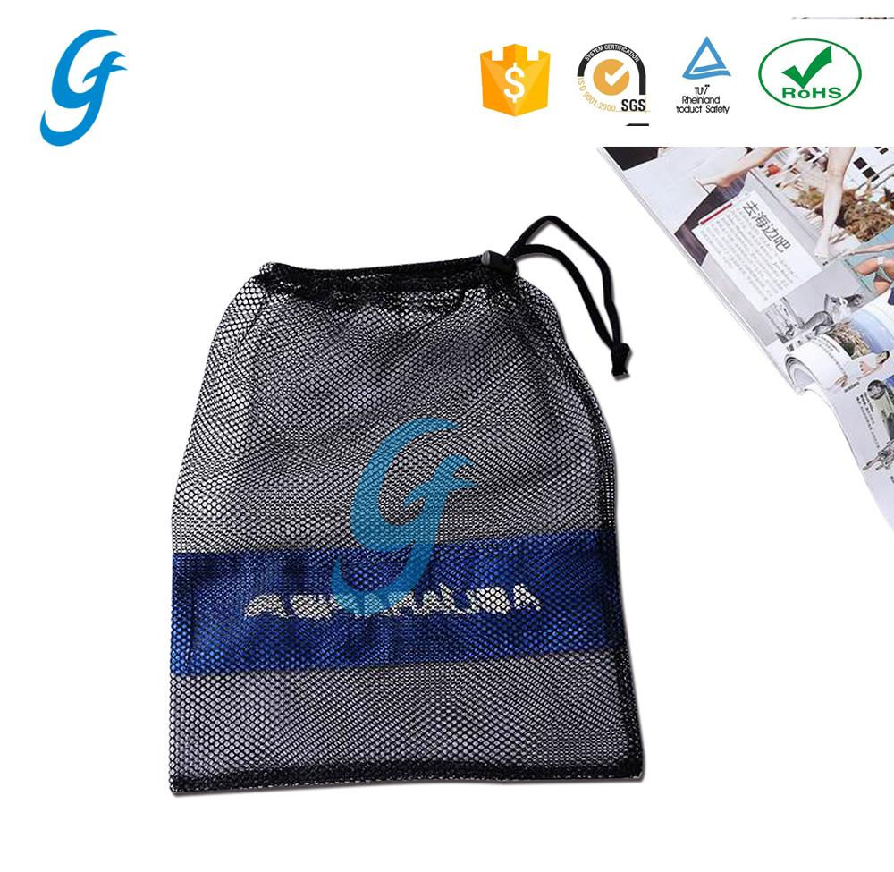 Whholesale recycled Small Black nylon mesh drawstring <strong>bag</strong> ball packing <strong>bag</strong>