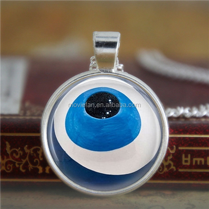 Evil Eye necklace Talisman Jewelry Good Luck Charm Art necklace Luck print glass necklace