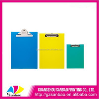 custom plastic A4/A5 office writing clip board with metal hook