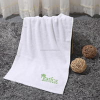 100% Cotton Custom Embroidery Logo White Bath Towel