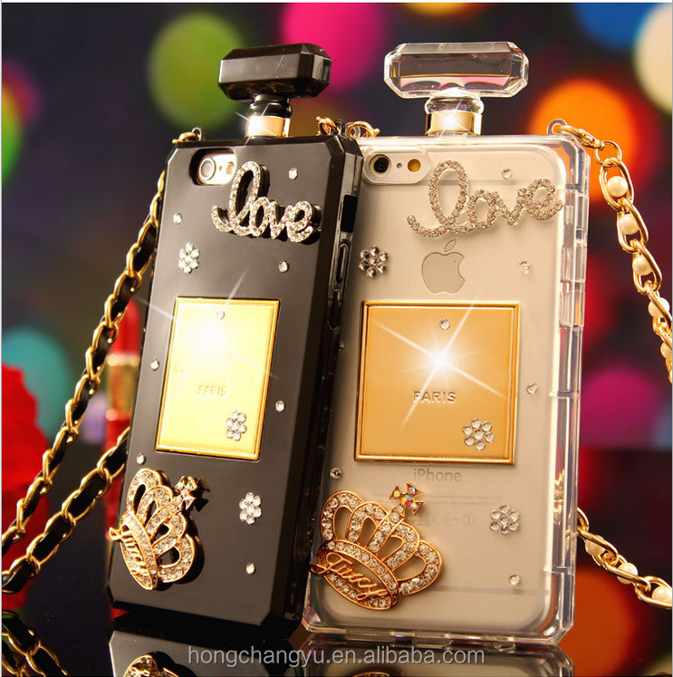 Luxury fashion diamond case bling bling perfume phone case for iphone 6