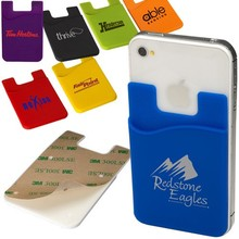 high quality adhesive silicone phone card holder case