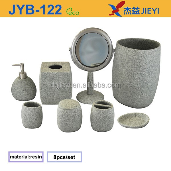 8pcs nature stone effect grey bathroom accessories sets for Grey bathroom accessories set
