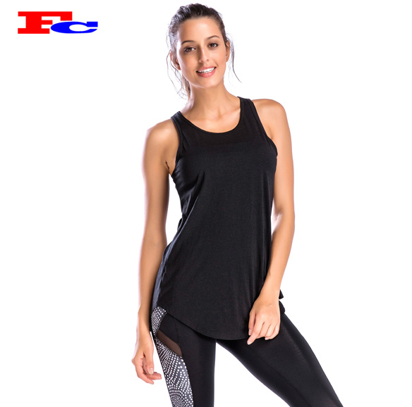Dongguan gym apparel sexy back design women fitness tank top wholesale clothing