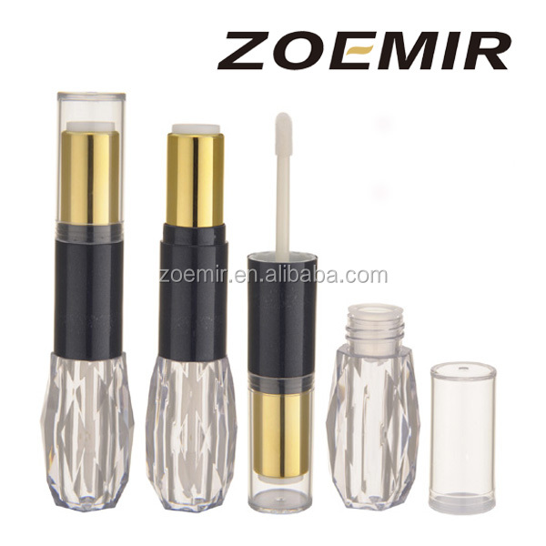 New Design Special Shape black gold empty plastic makeup Double lip gloss tube cosmetic dual ended lipstick tube
