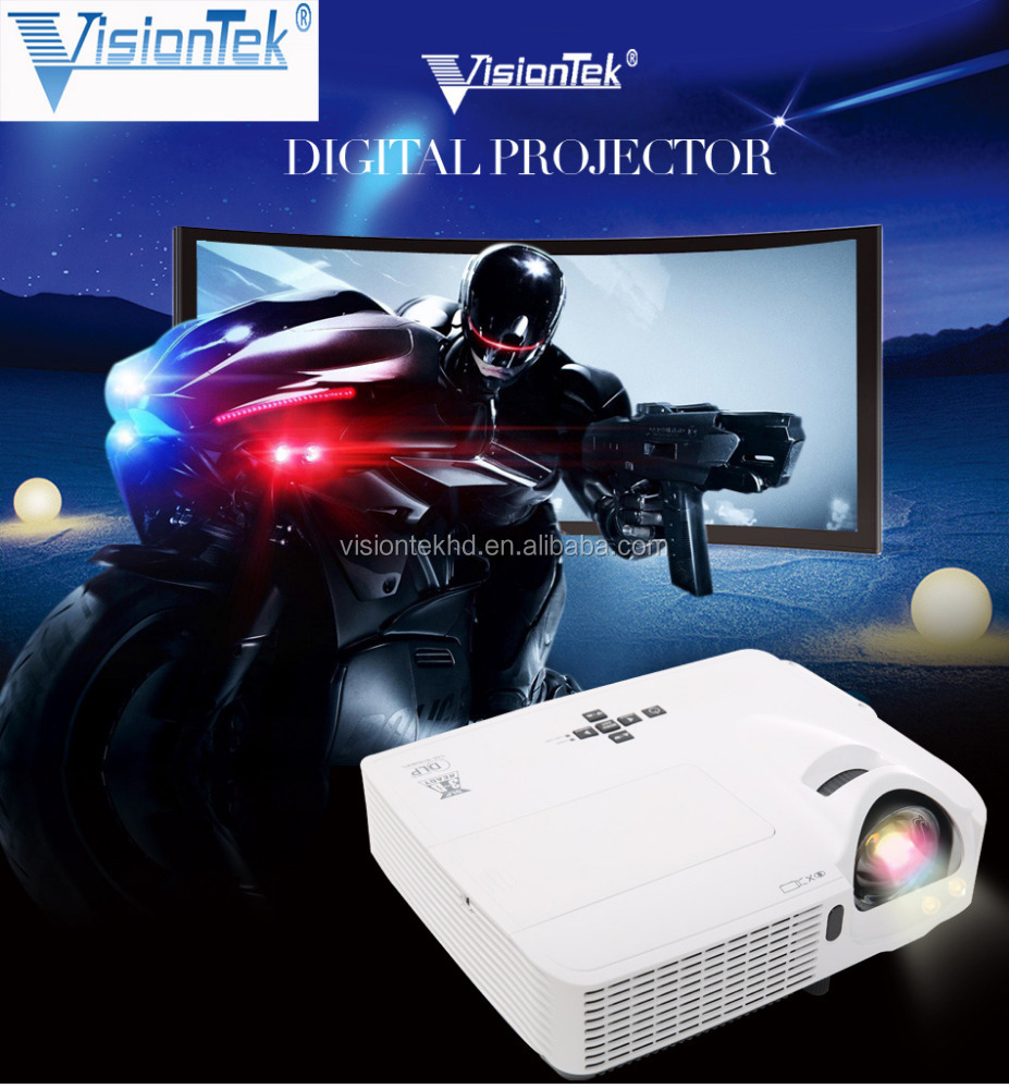 DLP projector 3d glasses short throw projector with High brightness and 1024*768 Resolution dlp