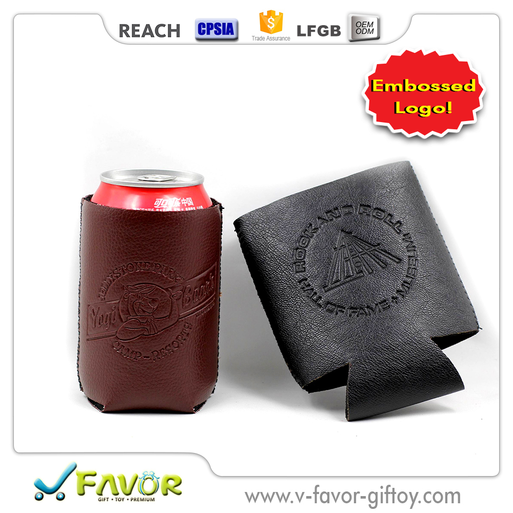Hot seller Collapsible Embossing Imprinted Leather Neoprene Beer Can Holder