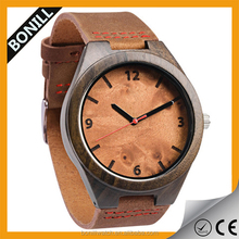 Wholesale Fashion Wood Watch For Men Custom Logo Wrist Watch Cheap Handmade Leather Strap