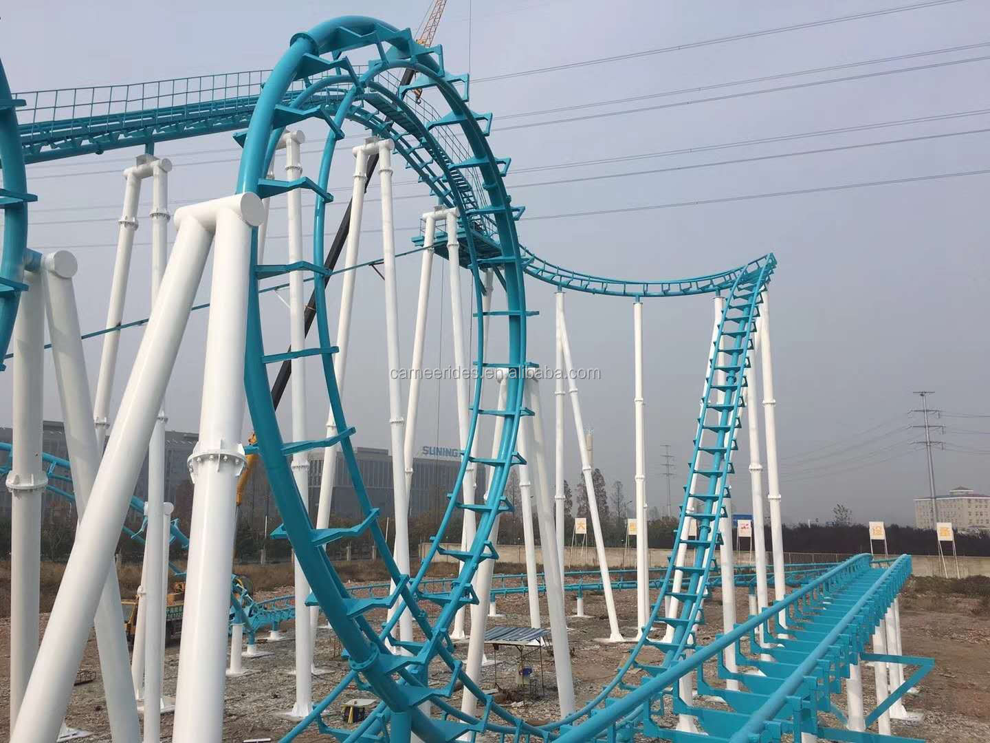 Outdoor Theme Parks Symbol Thrilling Adults Fun Rides 4 Loops Roller Coaster
