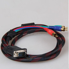 wholesale china supplier male to male VGA RCA S-Video AV 3 Adapter VGA RCA cable with 3 RCA made in china